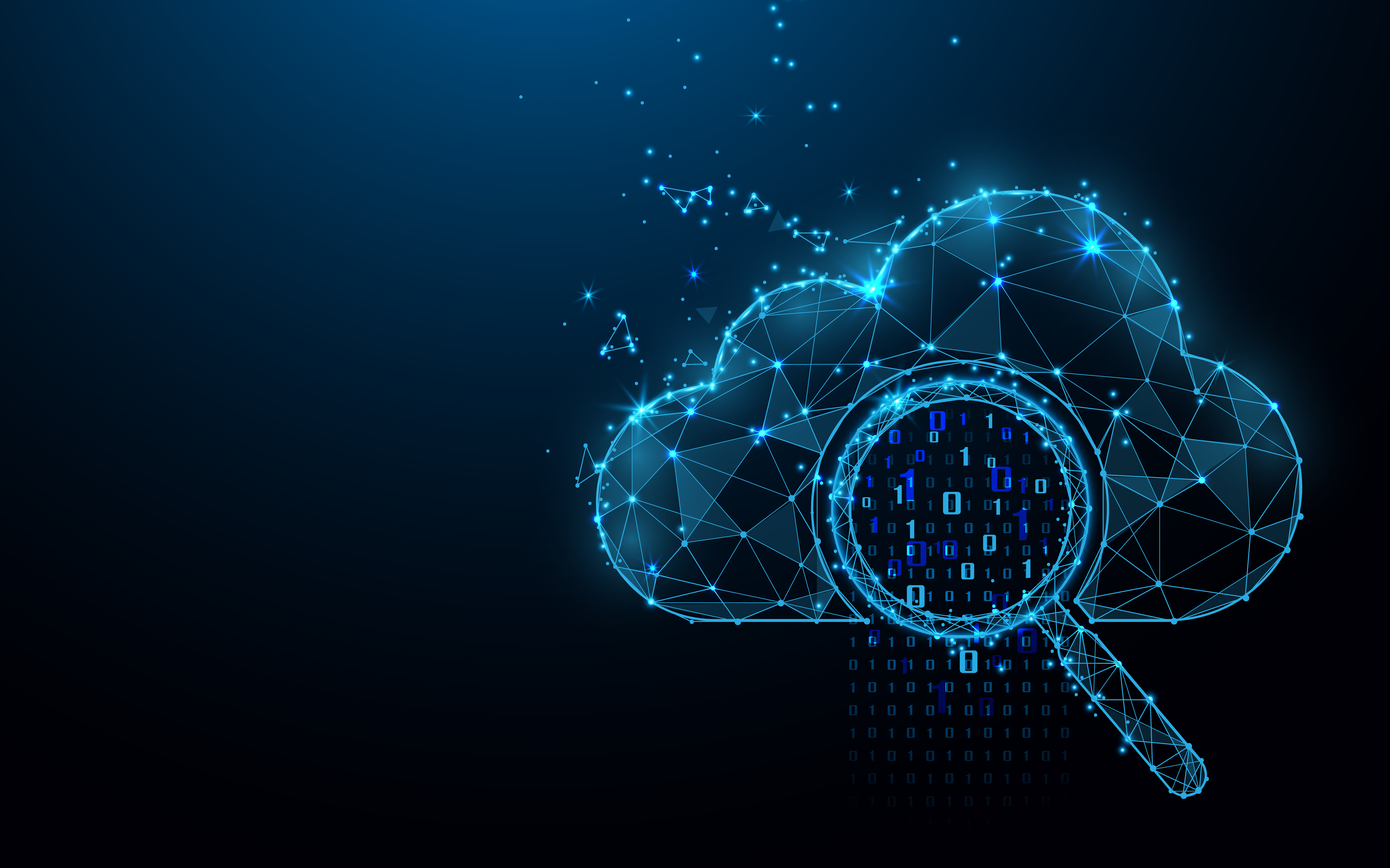 Cloud online storage technology concept. Big data data information exchange available. Magnifying glass with analytics data