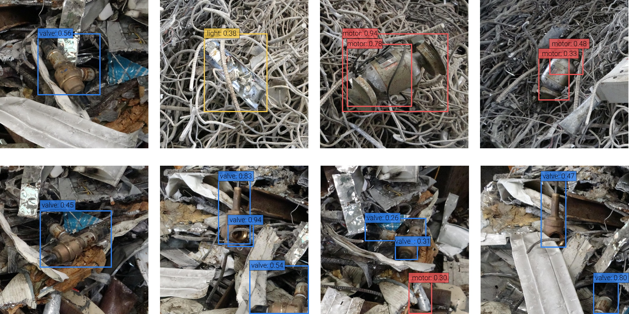 Image connected with scrap metal with AI-detected labels for various kinds of objects overlaid.