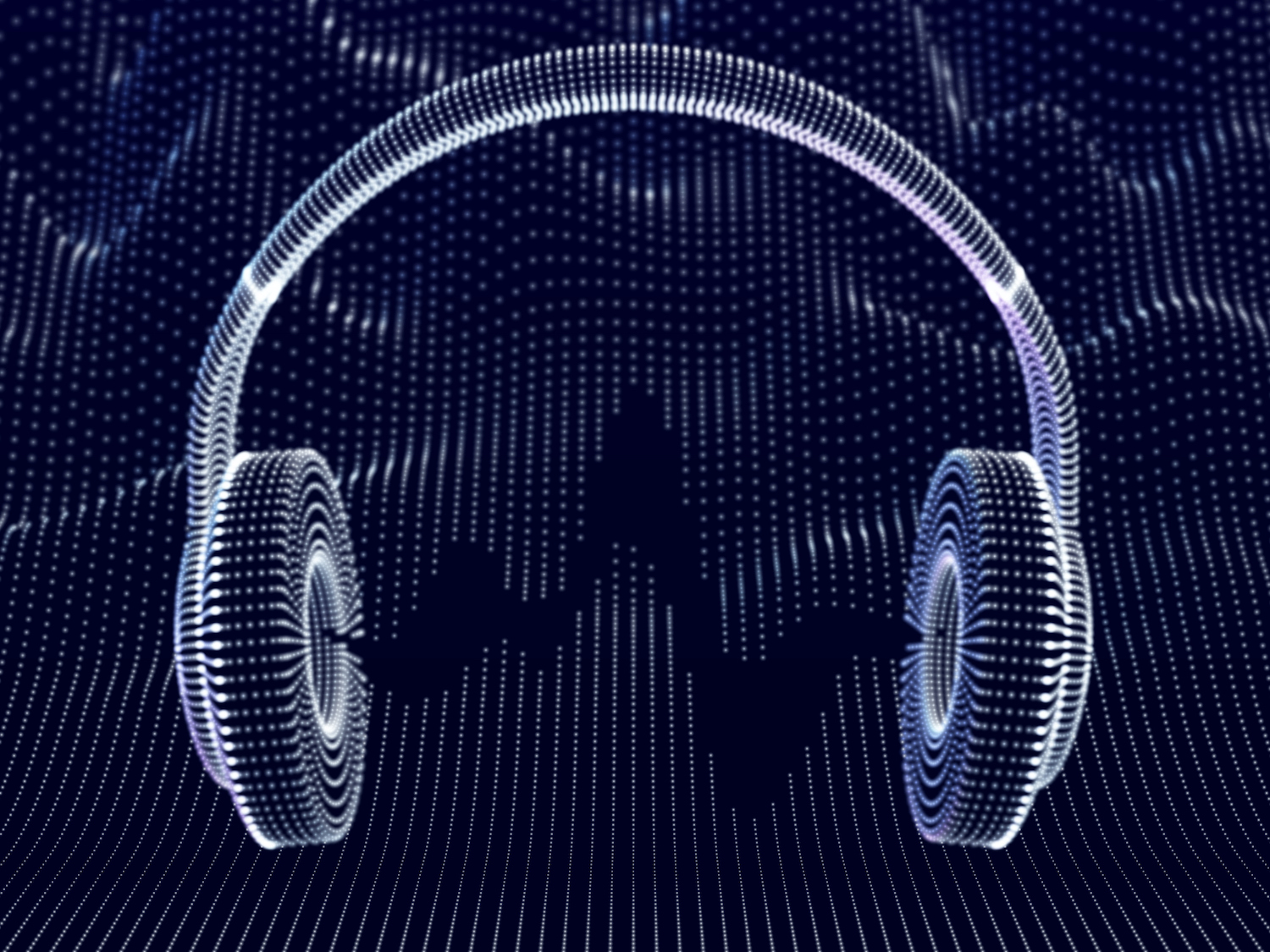3D headphones with sound waves on dark background. Concept of electronic music listening and digital audio. Abstract visualization of digital sound waves and modern art. Vector illustration. (3D headphones with sound waves on dark background. Concept