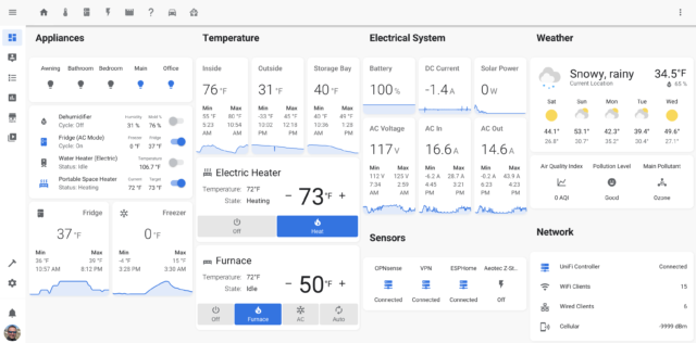 An example of a Home Assistant dashboard used to monitor an RV.