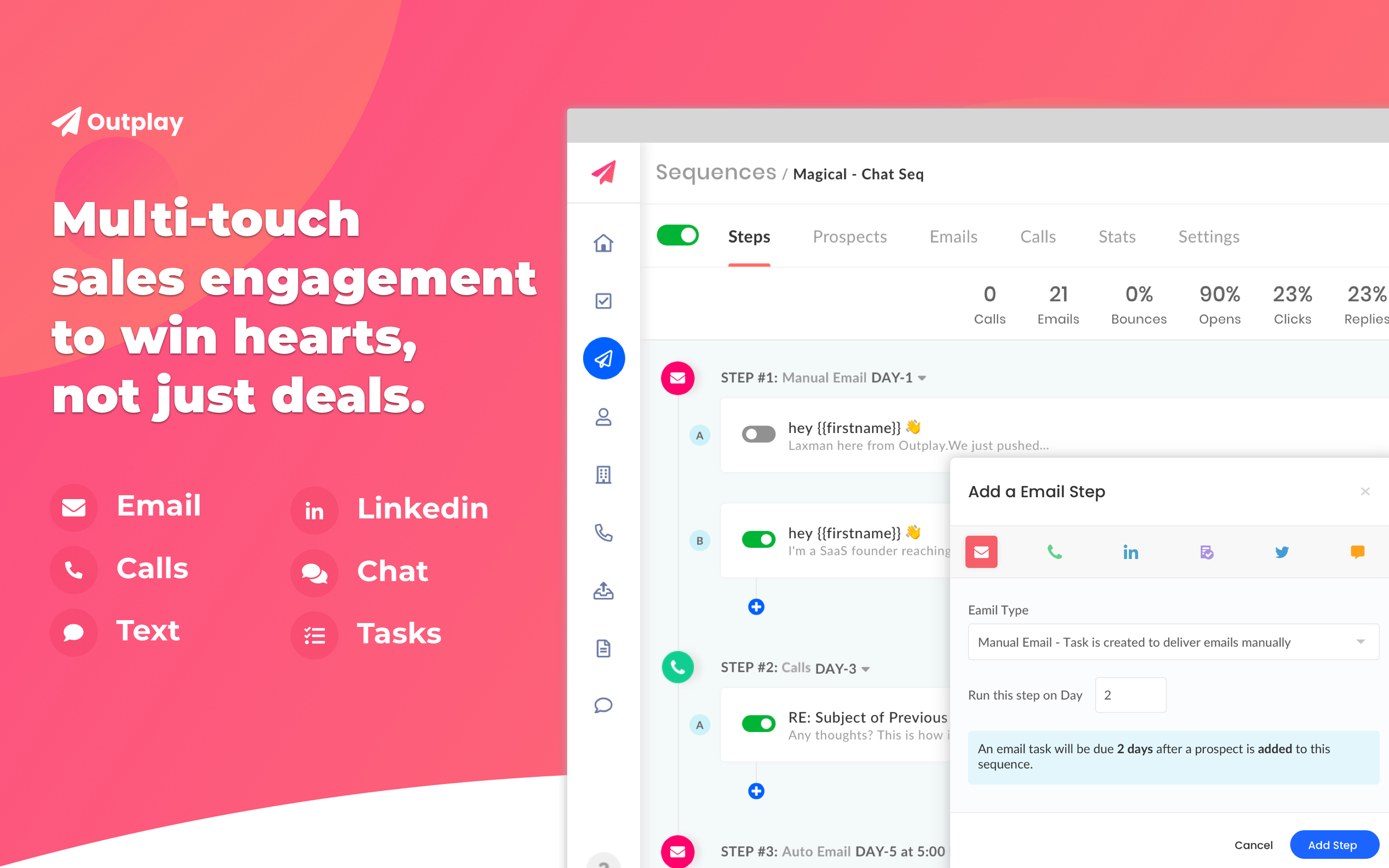 Screenshots of Outplay's sales engagement platform to make automating sales tasks