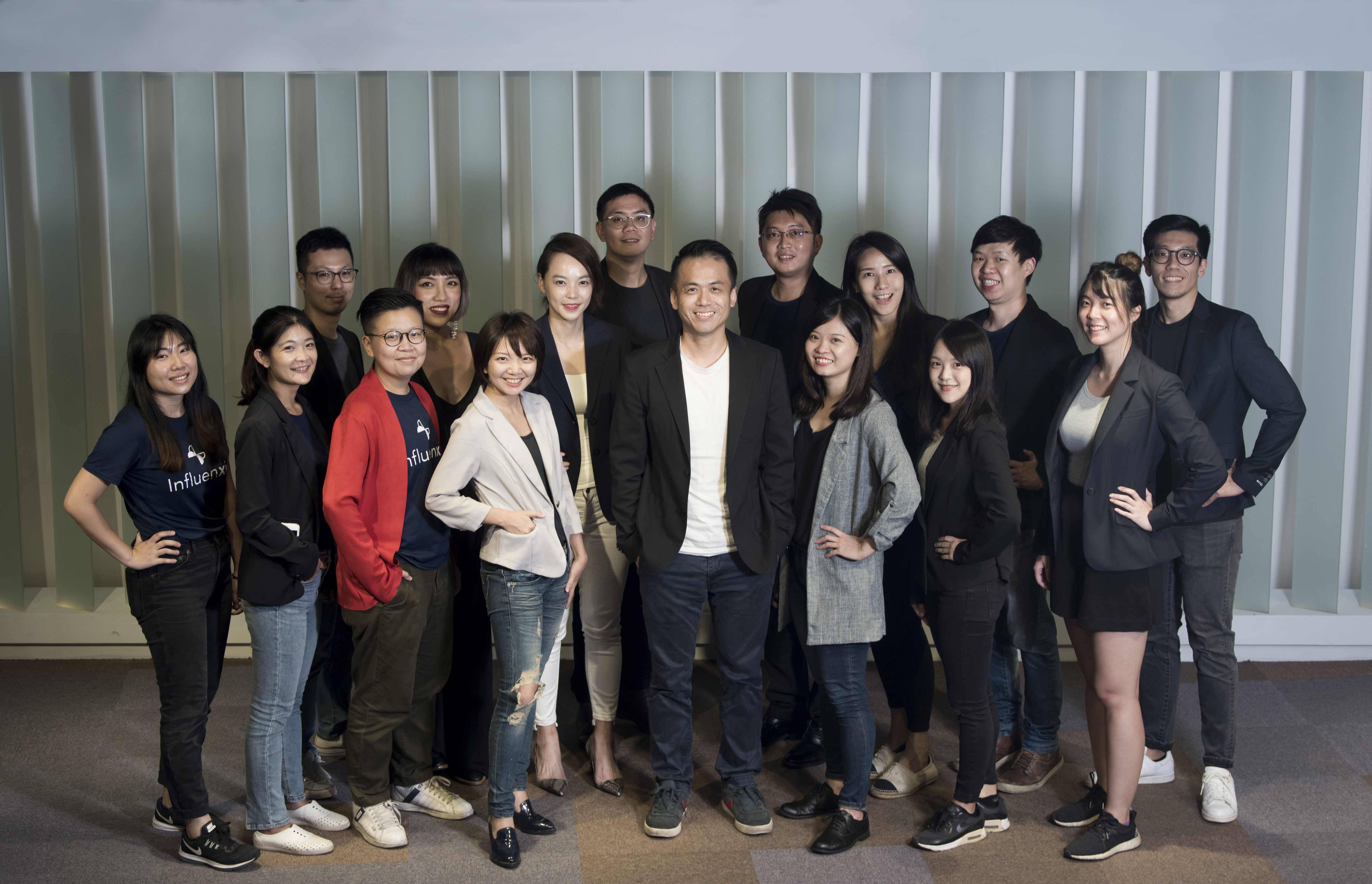 Influencer marketing startup Influenxio's team, with founder and CEO Allan Ko in the center