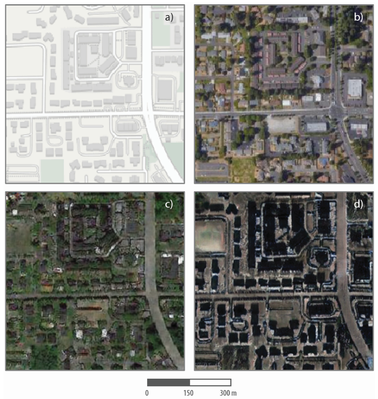 Four image samples show a street chart and a real satellite image of Tacoma, and two lab-created satellite images of the same roadway in Seattle and Beijing.
