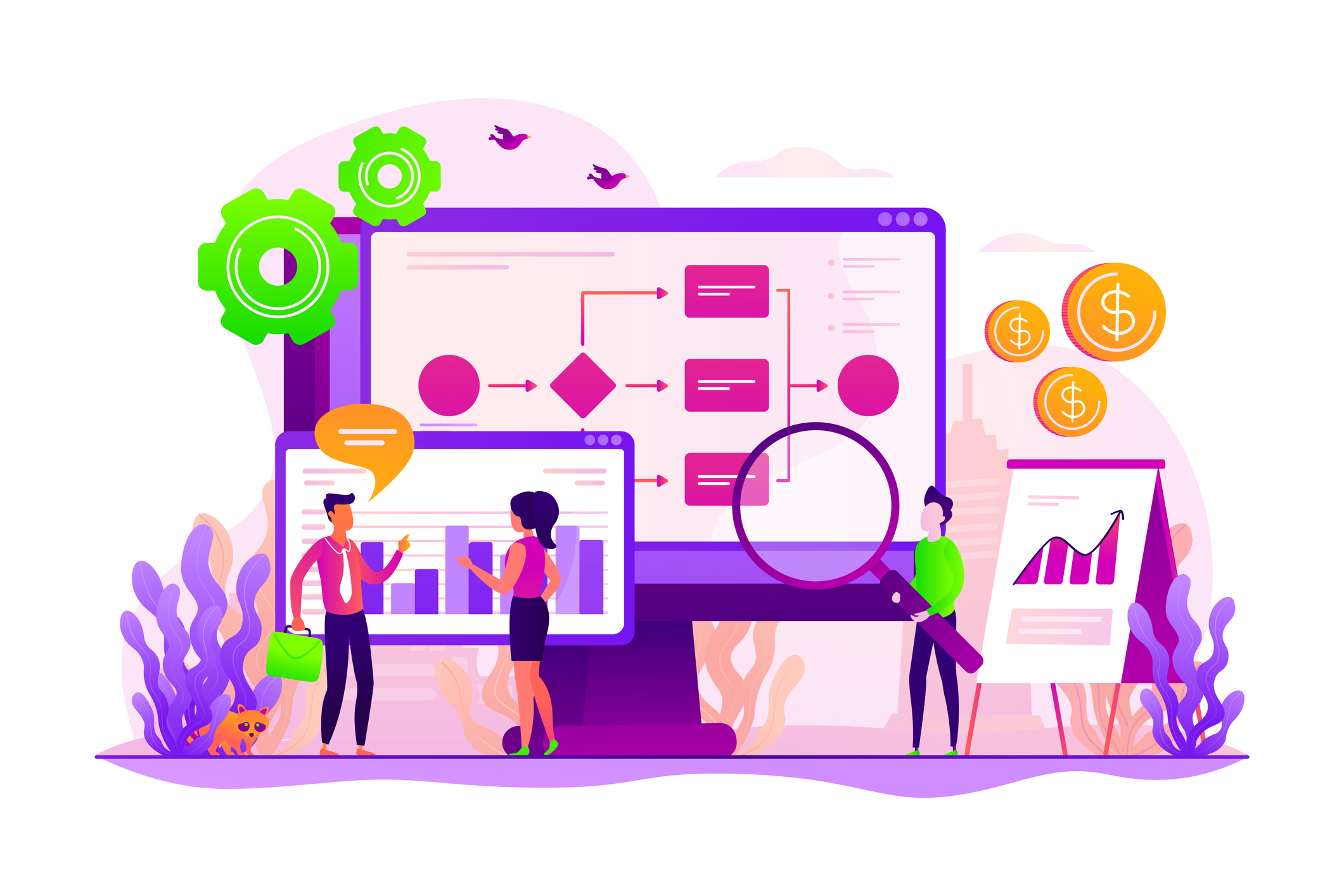 Business process organization and analytics. Business process visualization and representation, automated workflow system concept. Vector concept creative illustration