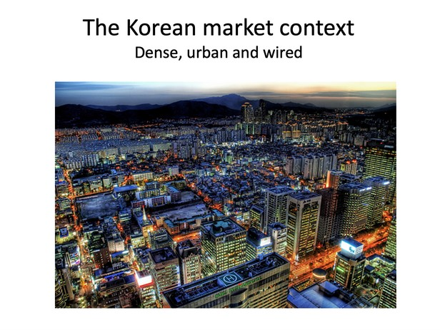 I'm not Korean — I am ethnically Chinese — so Bom put together slides on the Korean market and why it was perfect for the daily-deal model. In short: a very dense population that's incredibly online.