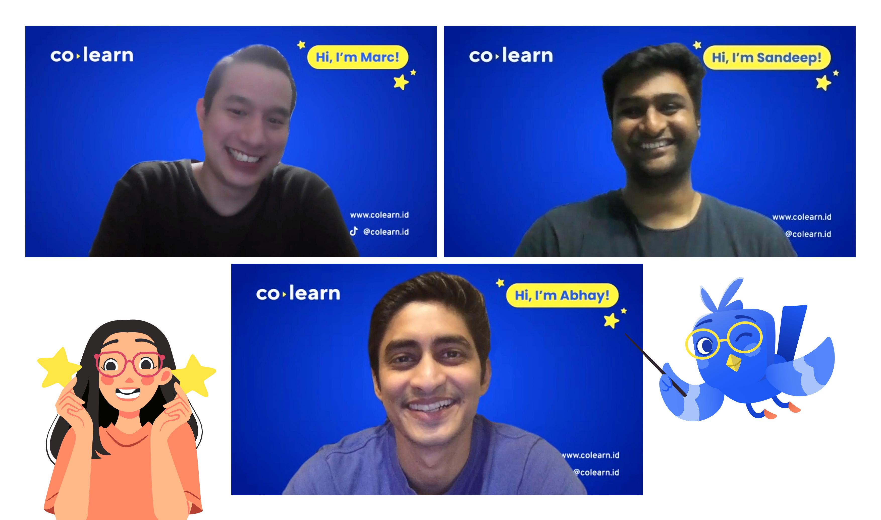 A Zoom screenshot with CoLearn's founding crew: Marc Irawan, Abhay Saboo and Sandeep Devaram