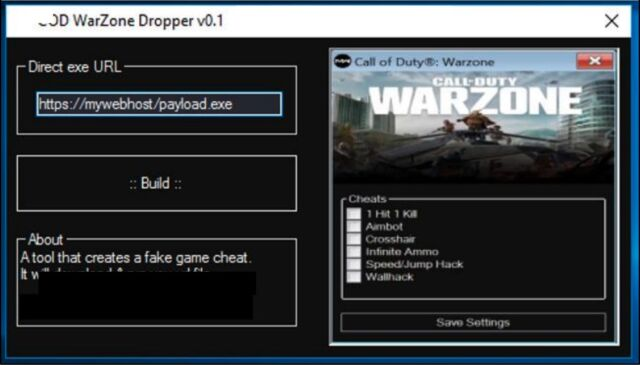 An app available in malware forums that creates custom versions of emWarzone Cheat Engine/em.