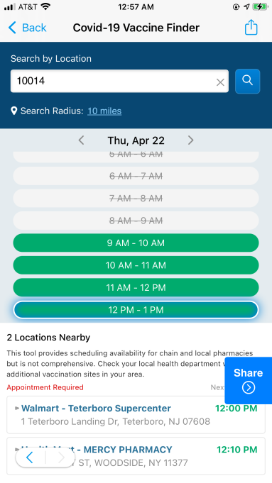 A screenshot of SmartNews' vaccine locater feature for the American performace of its app