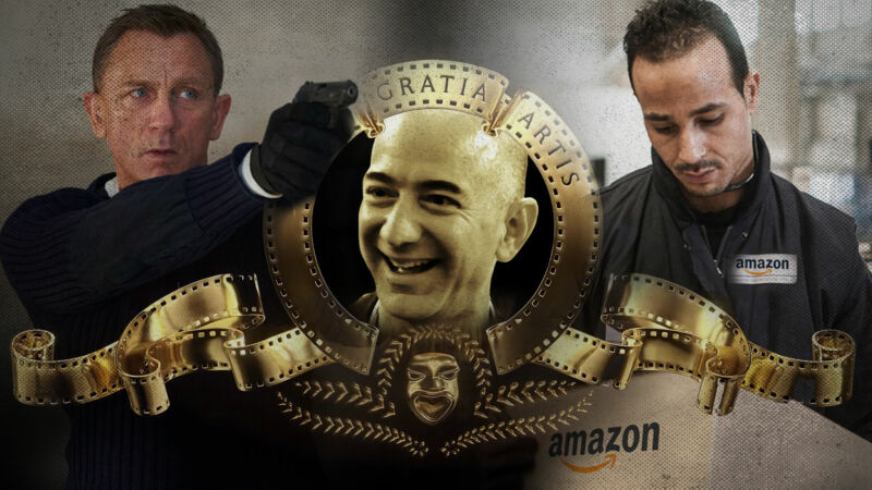 Illustration of the MGM logo with a picture of Jeff Bezos instead of a lion, James Bond actor Daniel Craig, and a man wearing a jacket with an Amazon logo.