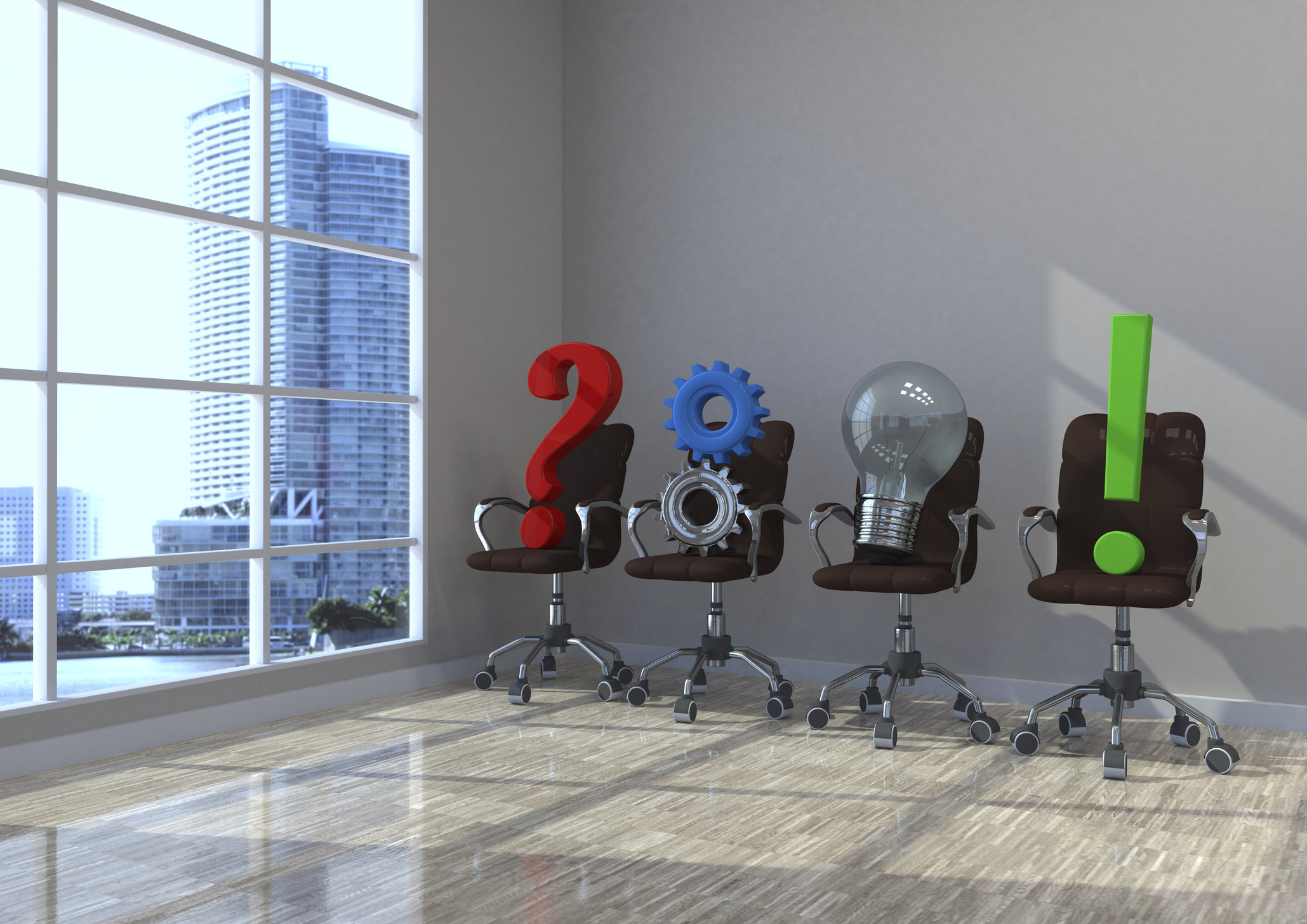 Image of a question mark, gears, a lightbulb, and an exclamation point on chairs in a waiting room.