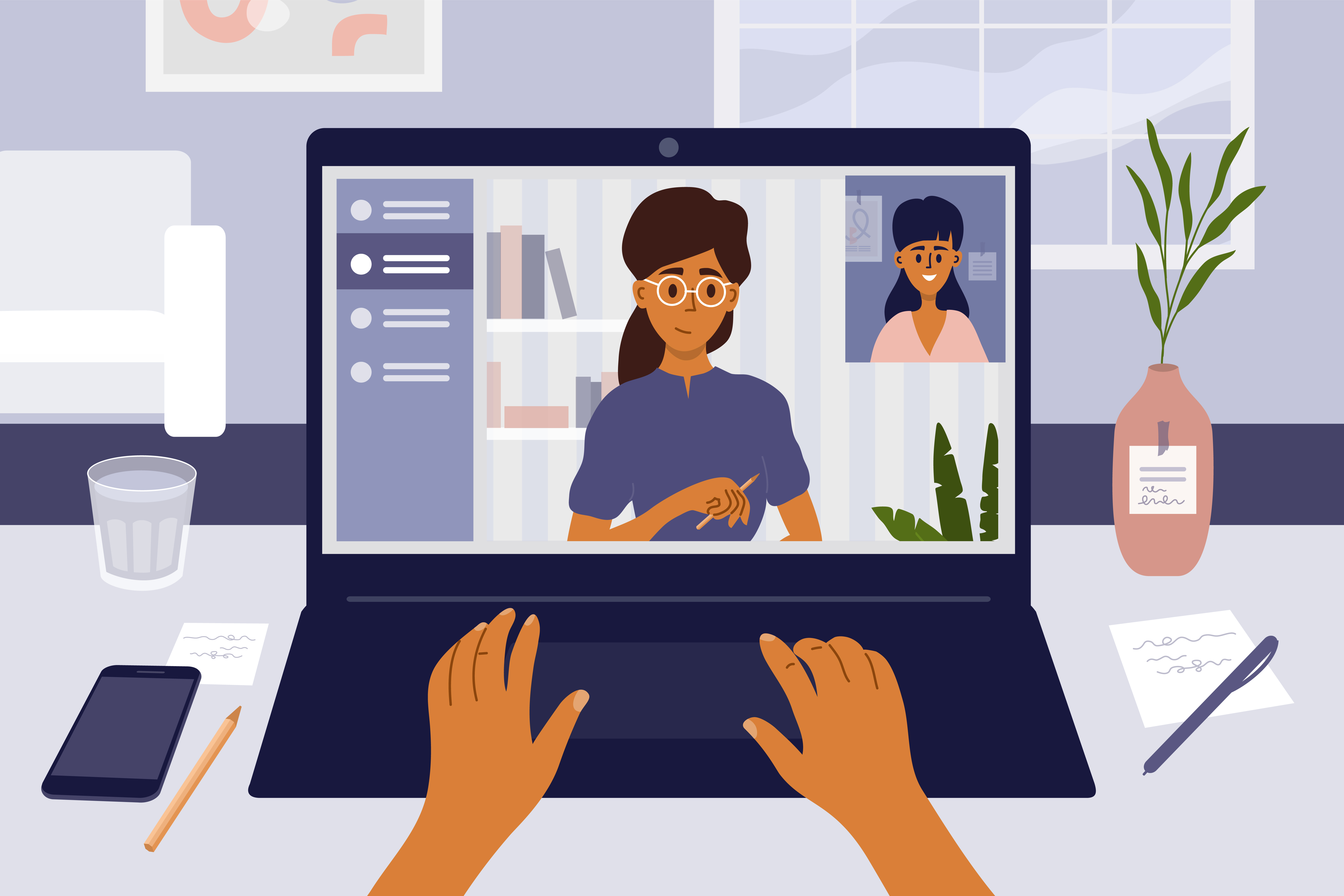 Image of a person talking to two colleagues via videoconferencing.
