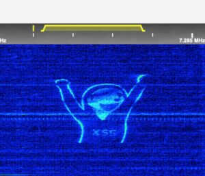 A spectrum painted image made using KiwiSDR.