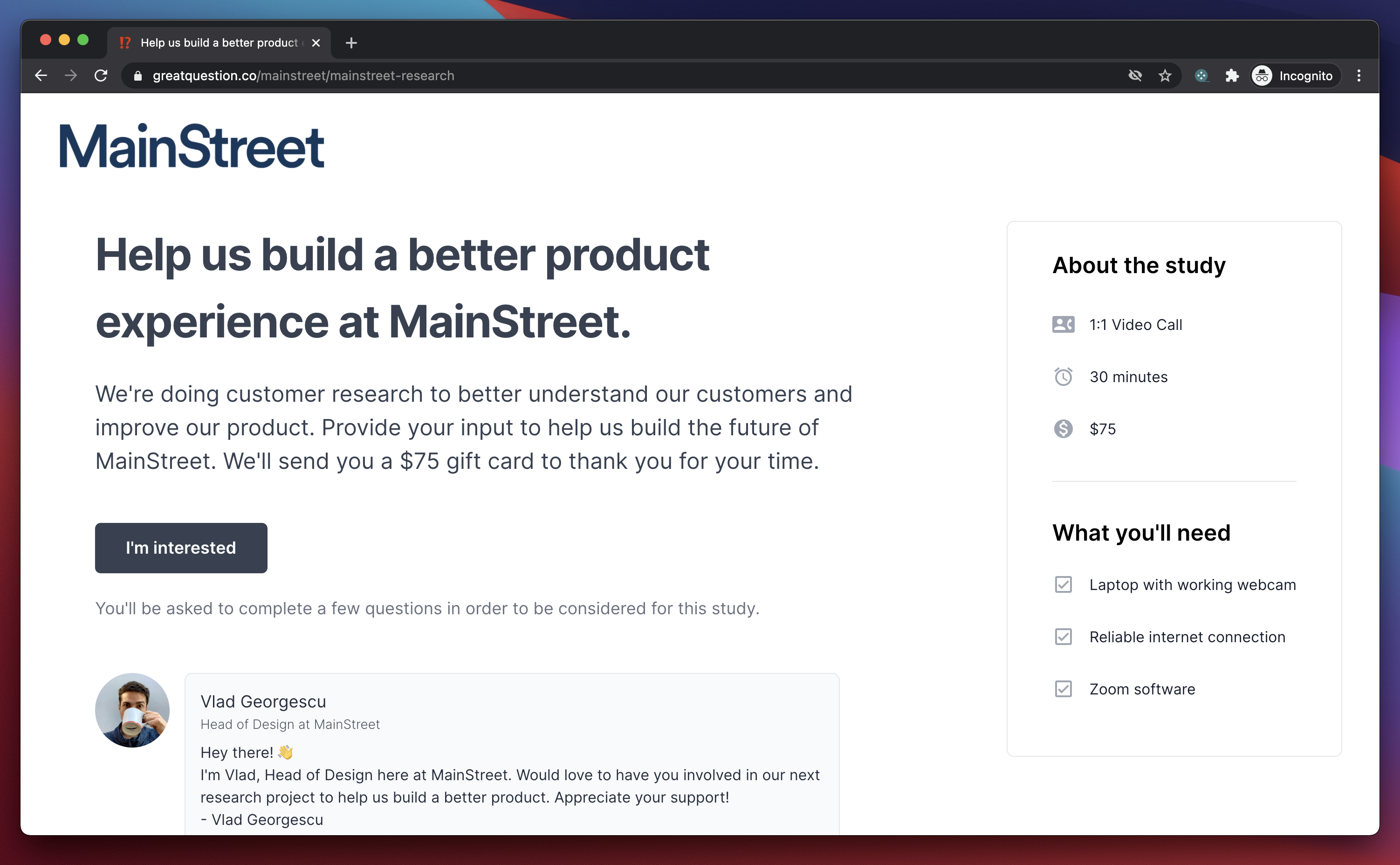 A landing page created for MainStreet consisting of Great Question's user studying platform