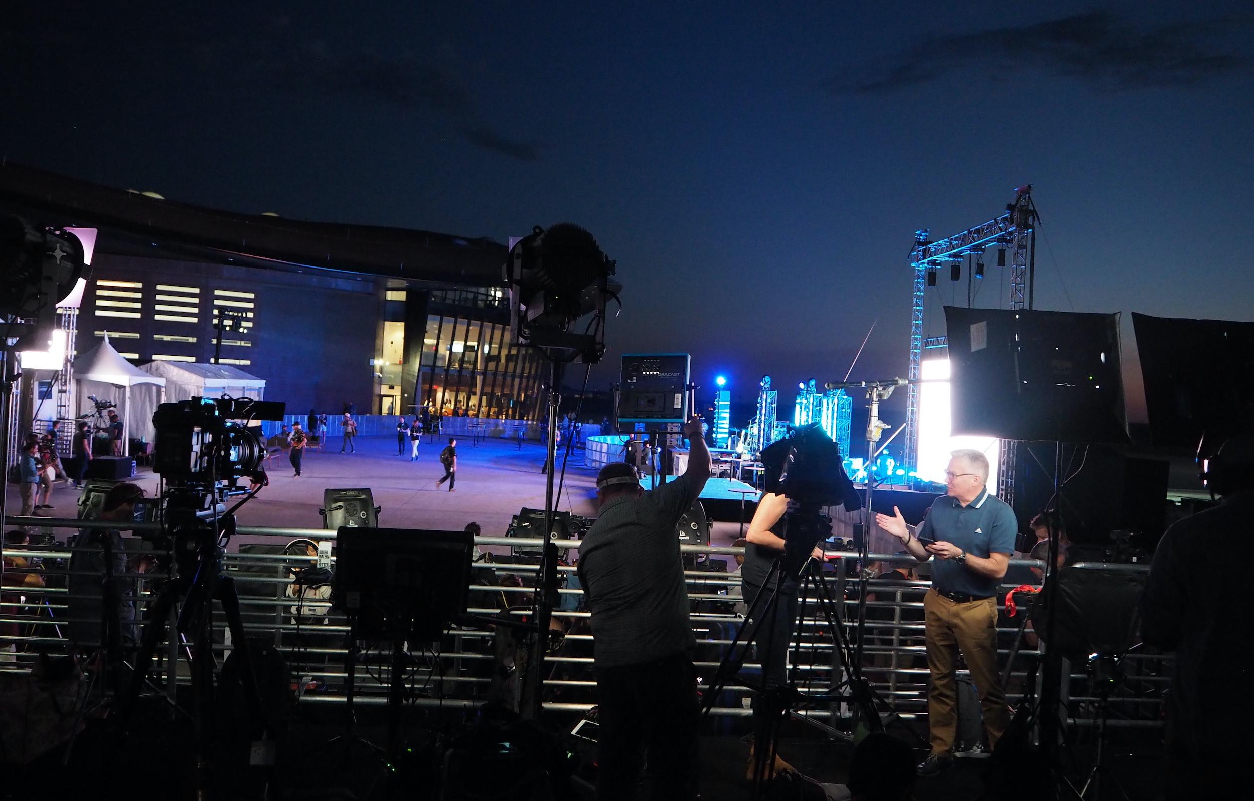 Press set up before dawn at Spaceport America.