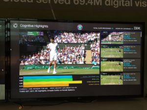 A shot of (apparently) the IBM software generating highlights from tennis matches. You see the four variables it tracks...