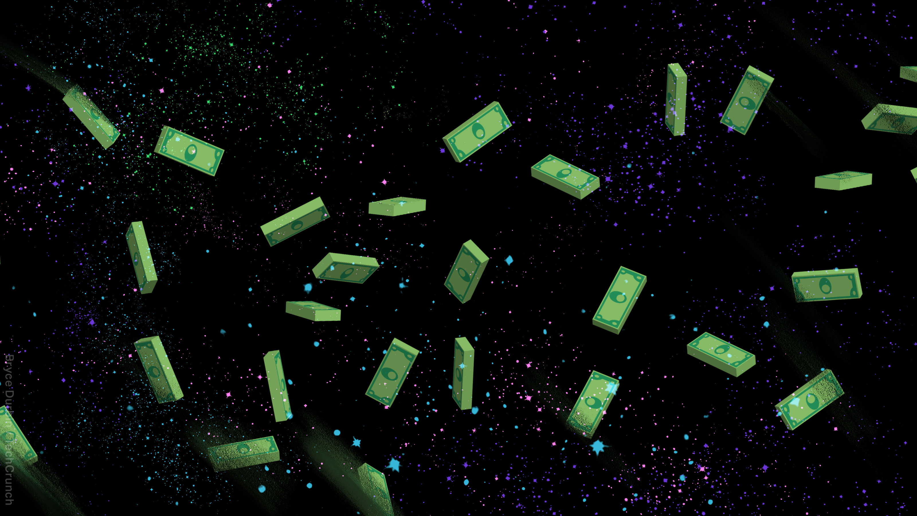 Money floating in space