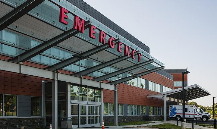 Exterior entrance to hospital.
