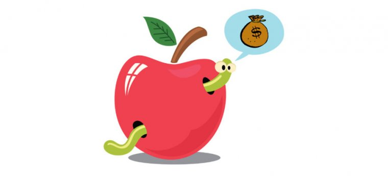 Cartoon worm in a cartoon apple.