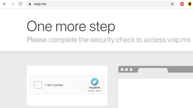 VoIP.ms website asks for captcha.